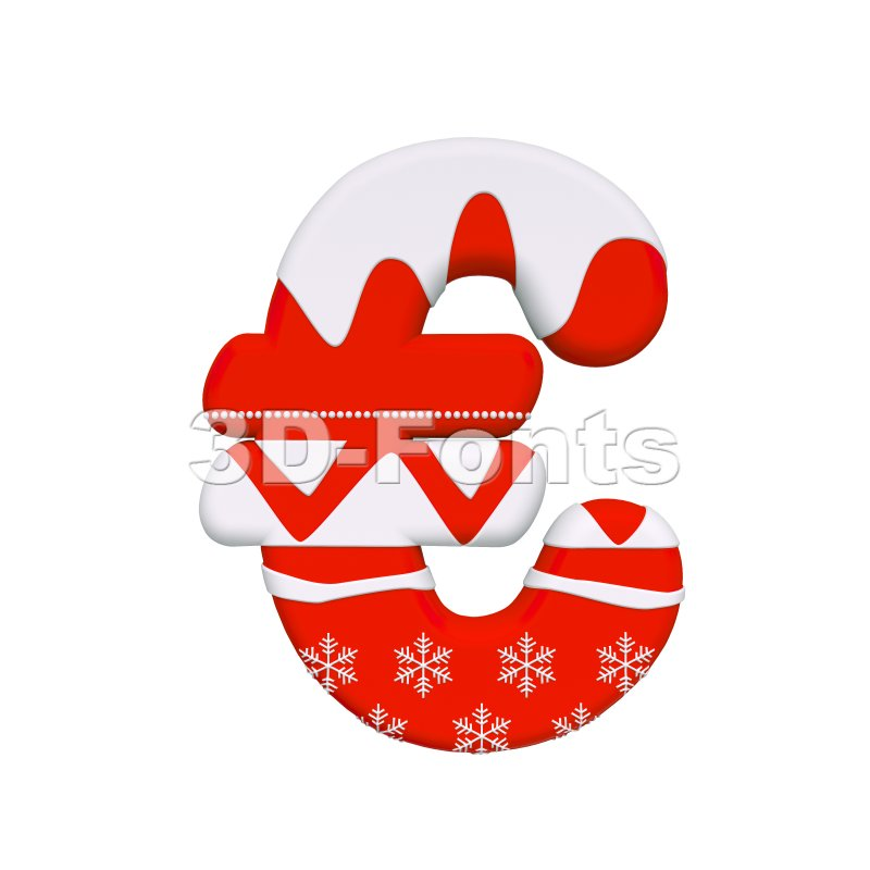 christmas euro currency sign - 3d business symbol - 3d-fonts