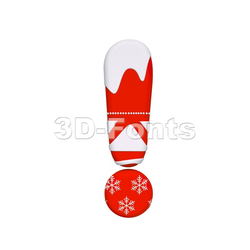christmas exclamation point - 3d symbol - 3d-fonts
