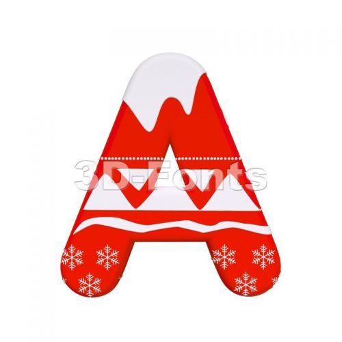 christmas letter A - Capital 3d character - 3d-fonts