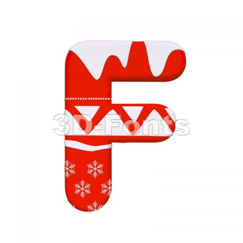 Christmas letter F - Upper-case 3d font - 3D Fonts Collections | Top Quality Letters, Numbers and Symbols !