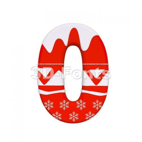 christmas number 0 - 3d digit - 3d-fonts