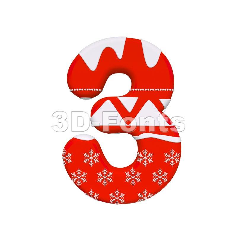 christmas number 3 - 3d digit - 3d-fonts