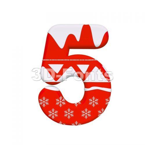 christmas number 5 - 3d digit - 3d-fonts