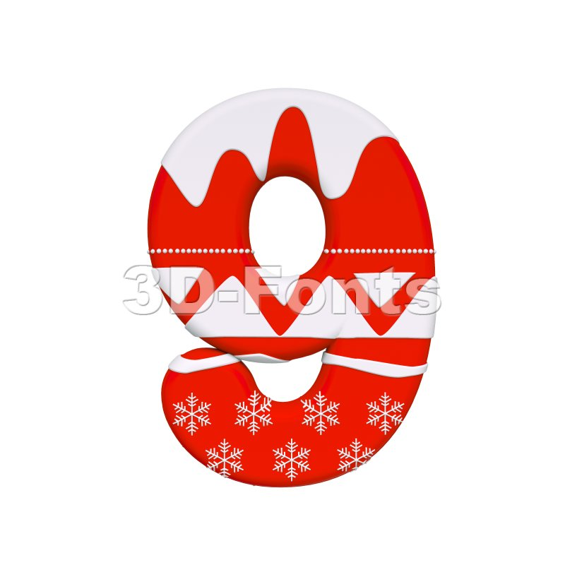 christmas number 9 - 3d digit - 3d-fonts