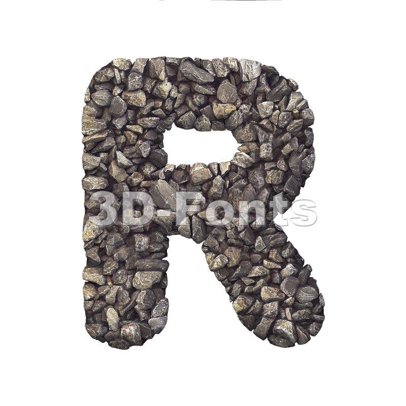 crushed rock letter R - Uppercase 3d font - 3d-fonts