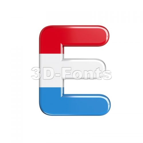 3d Capital character E covered in flag of Luxemboug texture - 3d-fonts