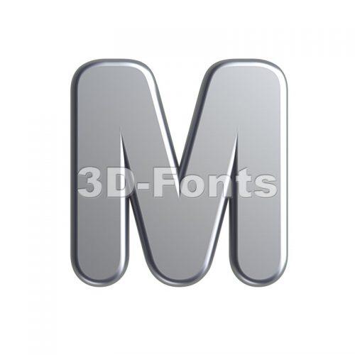 3d Capital character M covered in aluminium texture - 3d-fonts