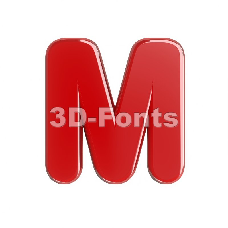 3d Capital character M covered in glossy red texture - 3d-fonts
