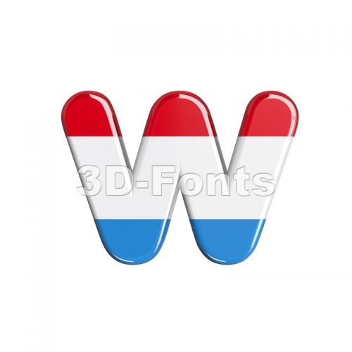 3d Lower-case letter W covered in Luxembourg flag texture - 3d-fonts