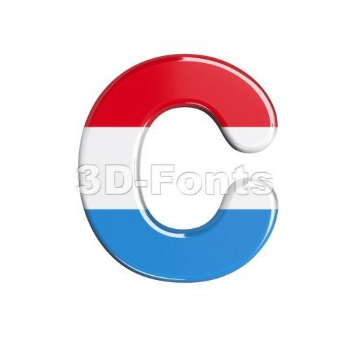 3d Luxembourg font C - Capital 3d letter - 3d-fonts