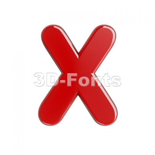 3d Upper-case character X covered in glossy red texture - 3d-fonts
