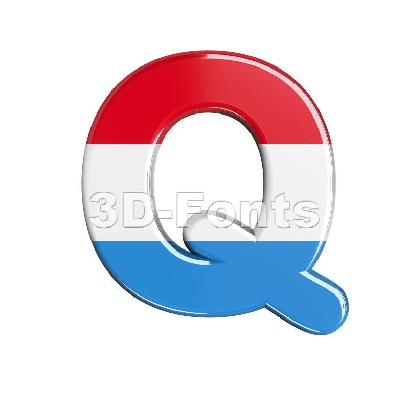 3d Upper-case font Q covered in flag of Luxemboug texture - 3d-fonts