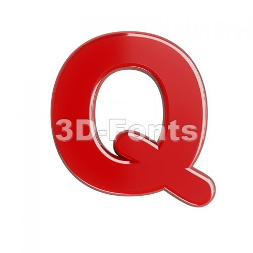 3d Upper-case font Q covered in glossy red texture - 3d-fonts