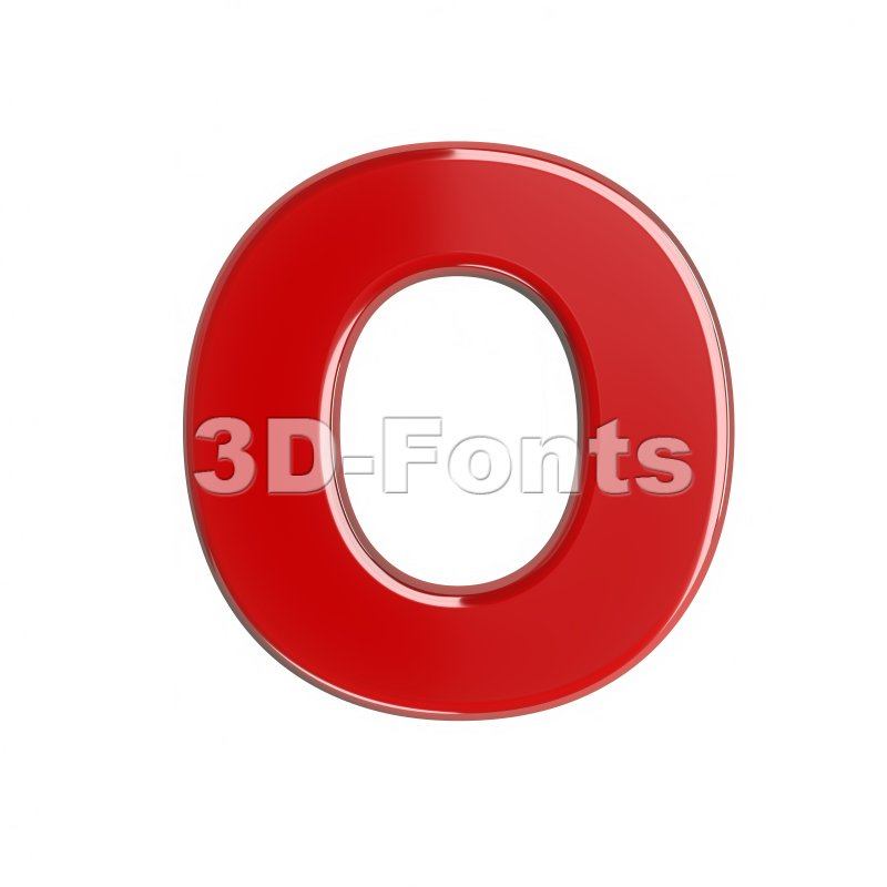 3d Upper-case letter O covered in red texture - 3d-fonts