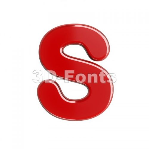 3d Uppercase font S covered in red texture - Capital 3d letter - 3d-fonts