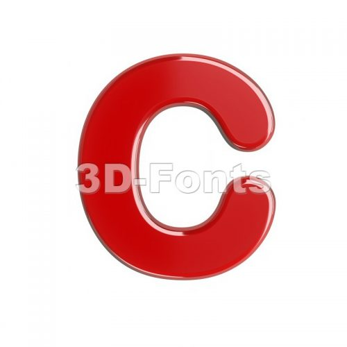 3d red font C - Capital 3d letter - 3d-fonts