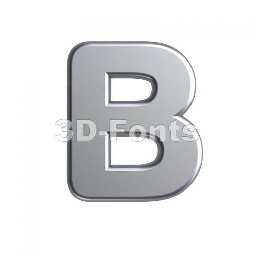 Capital aluminum letter B - Upper-case 3d font - 3d-fonts