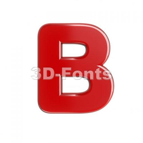 Capital glossy letter B - Upper-case 3d font - 3d-fonts