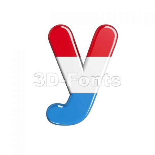 Lowercase flag of Luxemboug character Y - Small 3d letter - 3d-fonts
