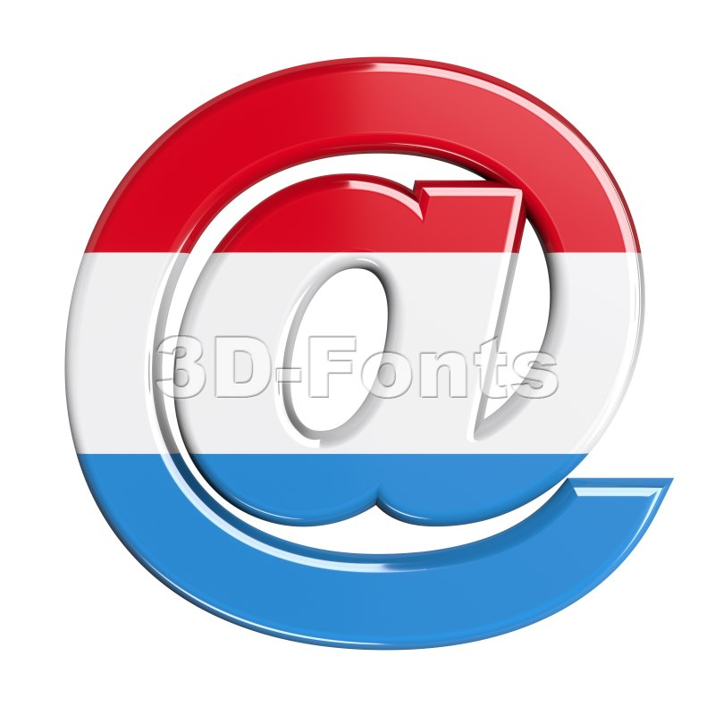 Luxembourg at-sign - 3d arobase symbol - 3d-fonts