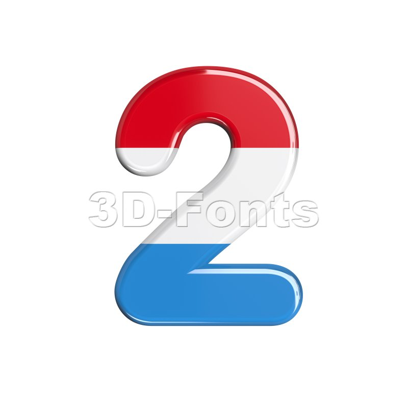 Luxembourg digit 2 - 3d number - 3d-fonts