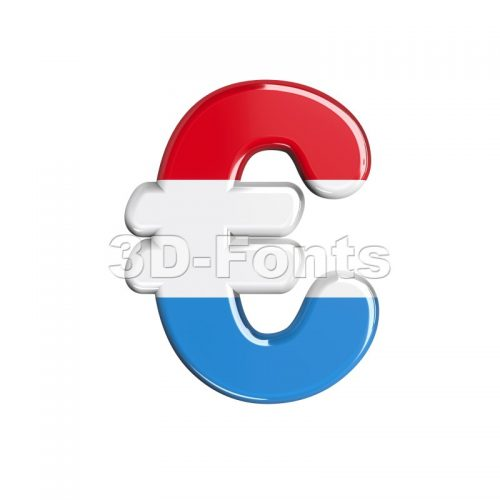 Luxembourg euro currency sign - 3d business symbol - 3d-fonts