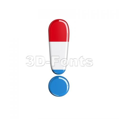 Luxembourg exclamation point - 3d symbol - 3d-fonts