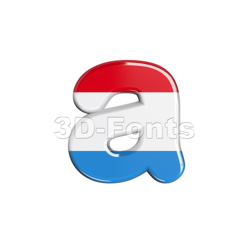 Luxembourg font A - Lowercase 3d letter - 3d-fonts