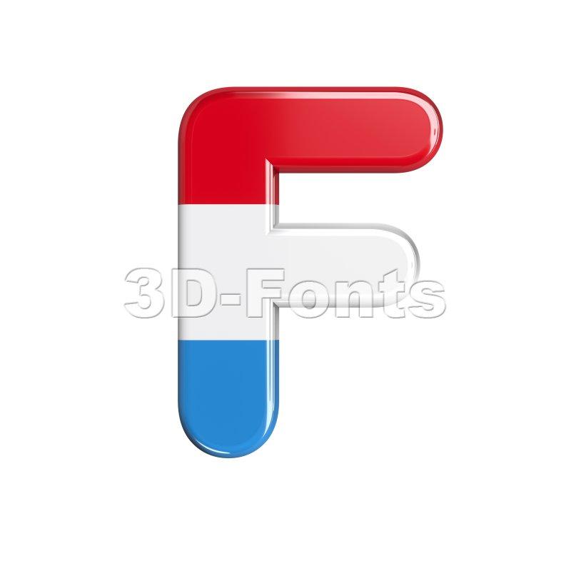 Luxembourg letter F - Upper-case 3d font - 3d-fonts