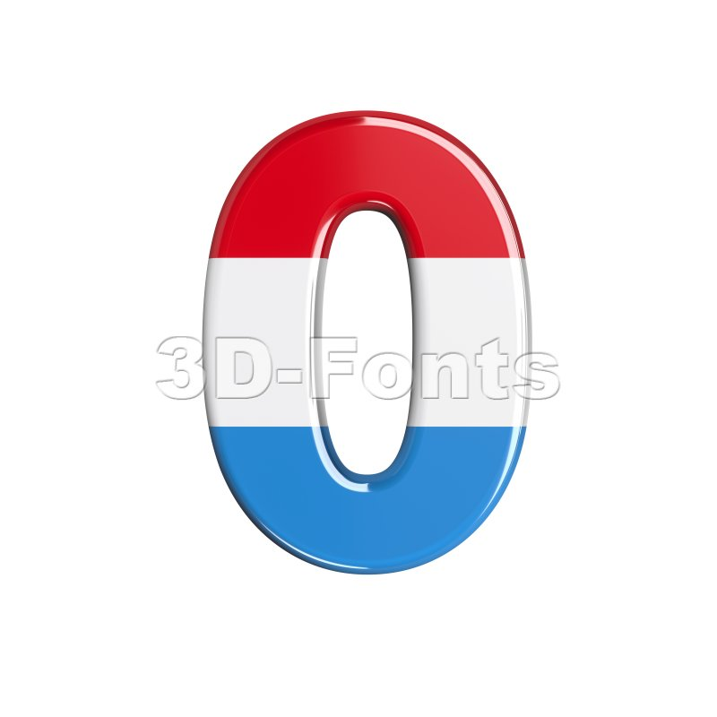 Luxembourg number 0 - 3d digit - 3d-fonts