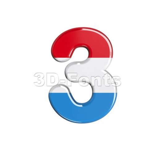 Luxembourg number 3 - 3d digit - 3d-fonts