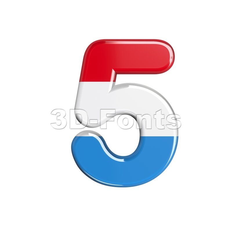 Luxembourg number 5 - 3d digit - 3d-fonts