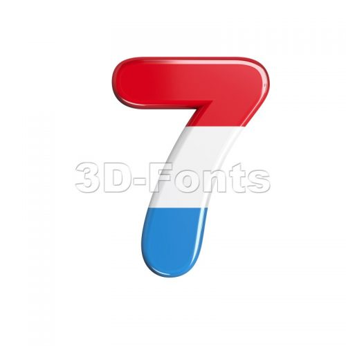 Luxembourg number 7 - 3d digit - 3d-fonts