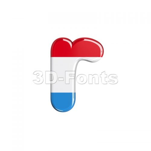 Small Luxembourg character R - Lower-case 3d letter - 3d-fonts