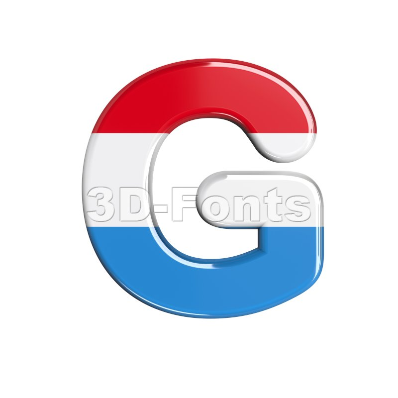 Upper-case Luxembourg character G - Capital 3d font - 3d-fonts