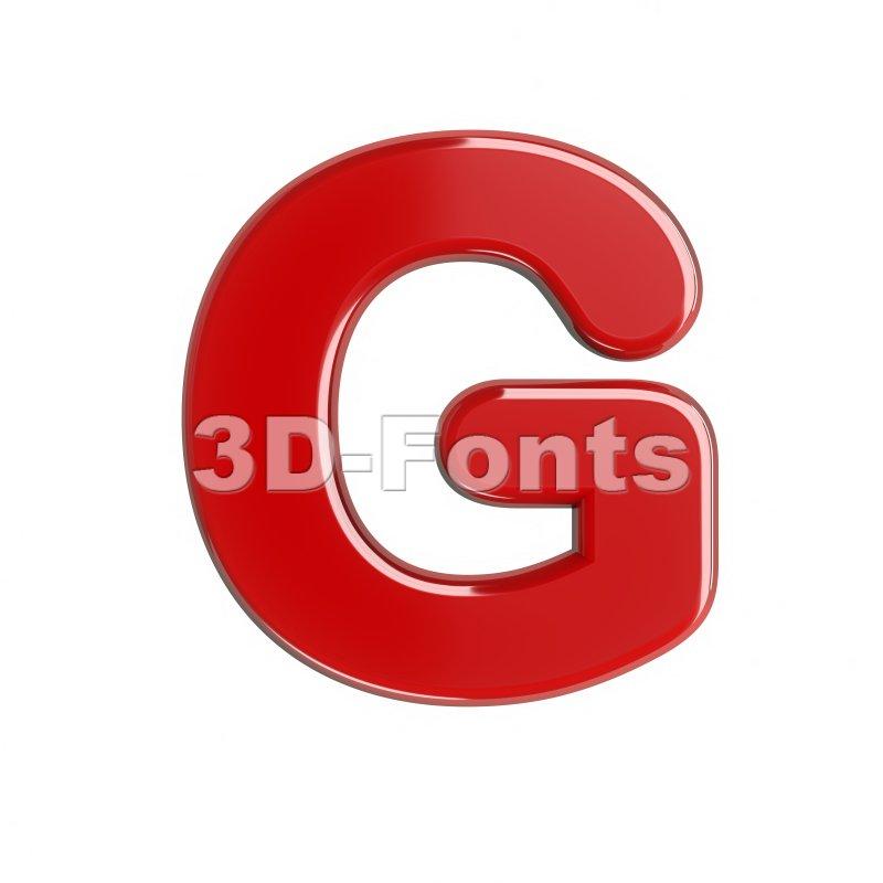 Upper-case red character G - Capital 3d font - 3d-fonts