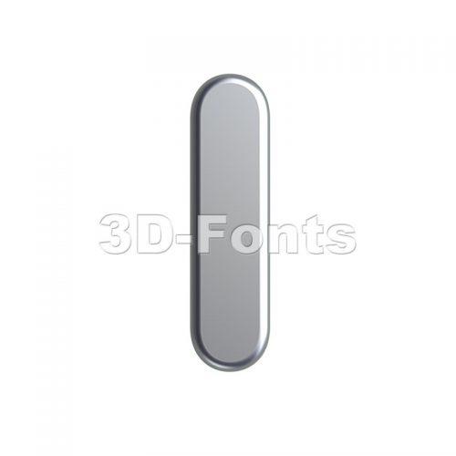 Uppercase aluminium font I - Capital 3d letter - 3d-fonts