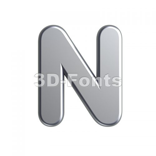 aluminium font N - Capital 3d letter - 3d-fonts