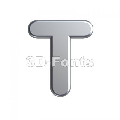 aluminum character T - Uppercase 3d letter - 3d-fonts
