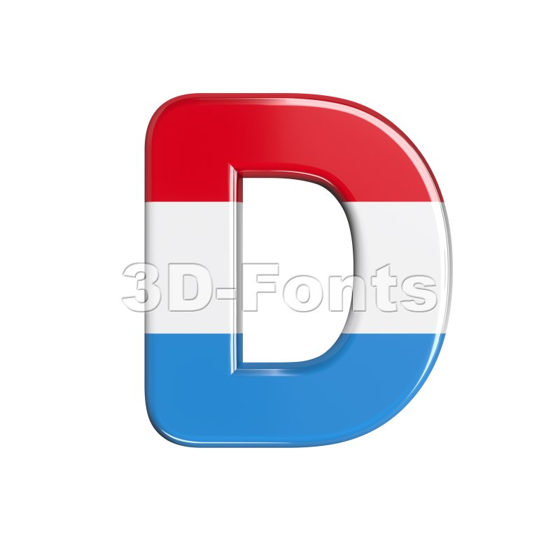 flag of Luxemboug font D - Capital 3d character - 3d-fonts