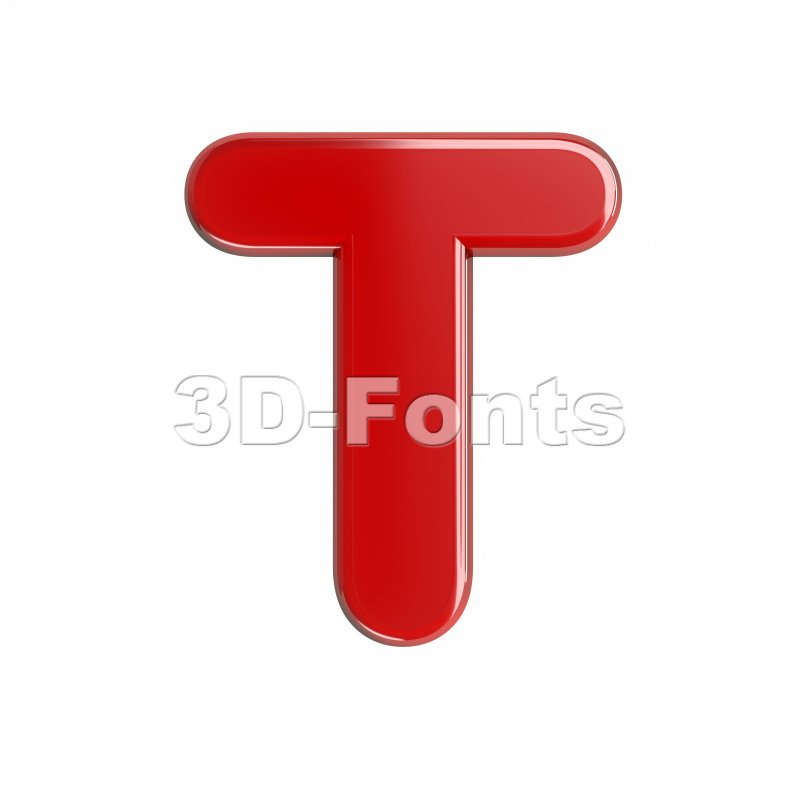 glossy character T - Uppercase 3d letter - 3d-fonts