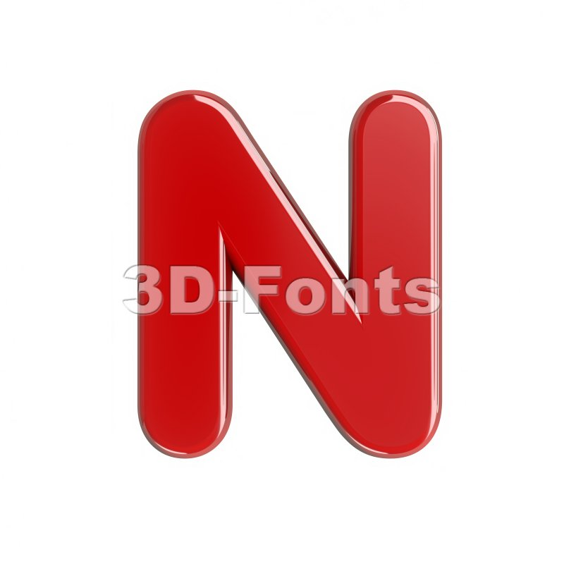 glossy red font N - Capital 3d letter - 3d-fonts