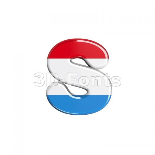 luxembourger flag letter S - Lowercase 3d font - 3d-fonts