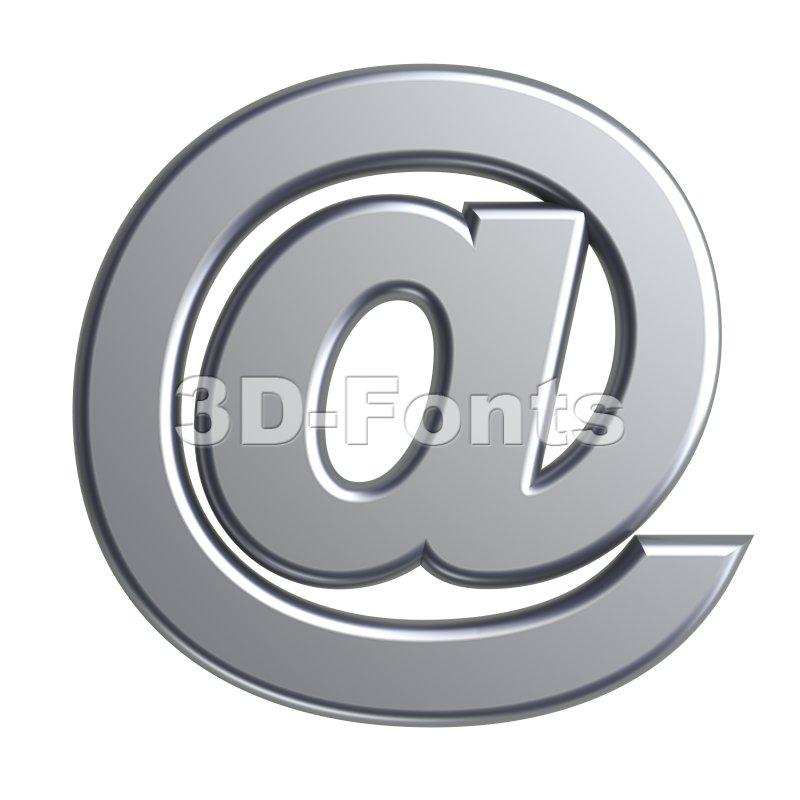 metal at-sign - 3d arobase symbol - 3d-fonts