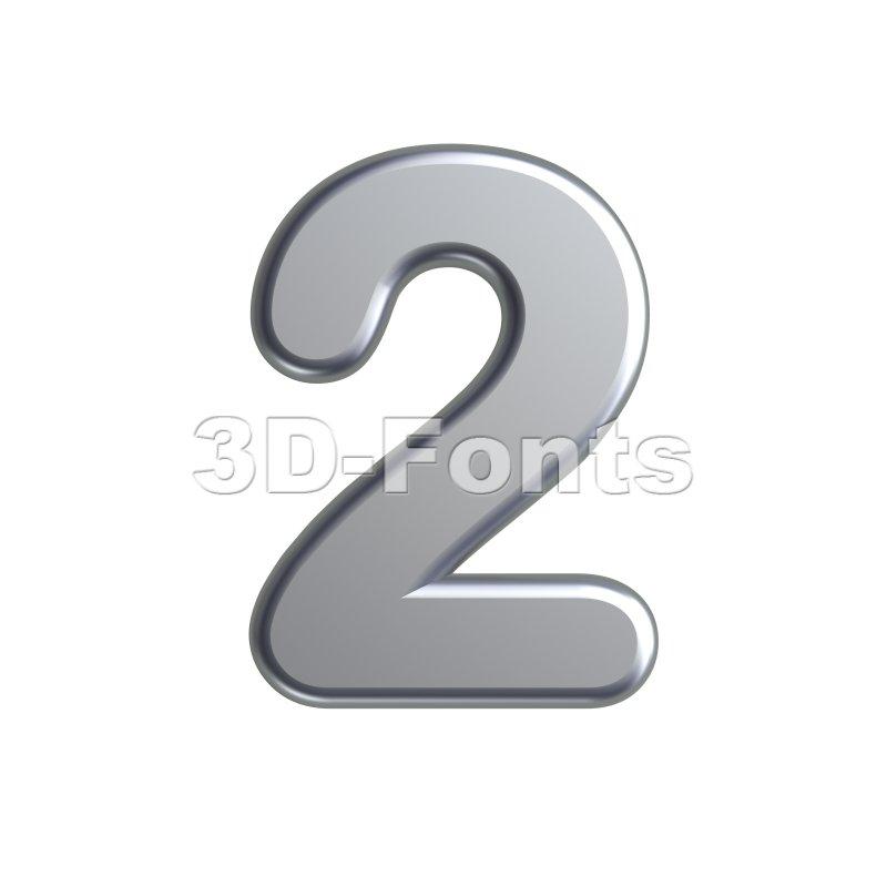 metal digit 2 - 3d number - 3d-fonts