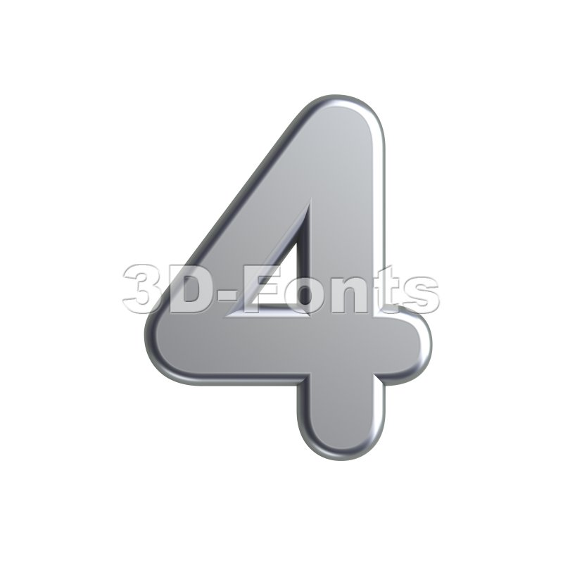 metal digit 4 - 3d number - 3d-fonts