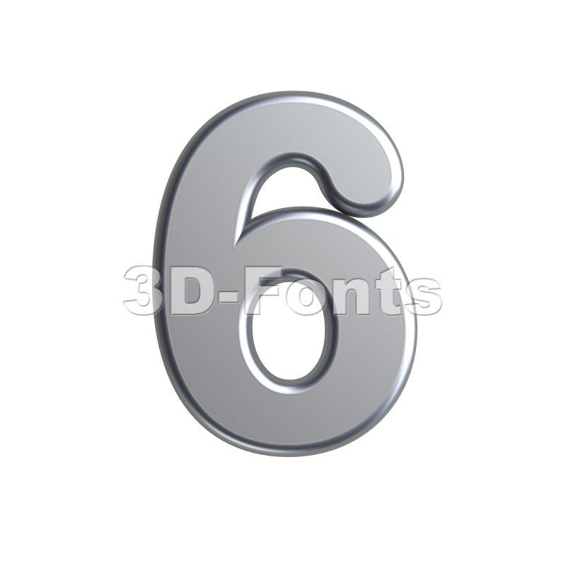 metal digit 6 - 3d number - 3d-fonts