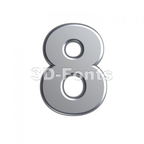 metal digit 8 - 3d number - 3d-fonts