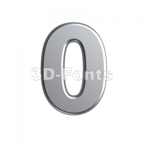 metal number 0 - 3d digit - 3d-fonts
