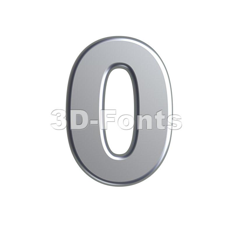 metal number 0 - 3d digit - 3d-fonts